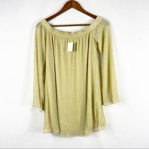 UO BDG Off the Shoulder Gold Dress NWT in XS
